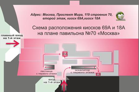 схема расположения киосков 69А