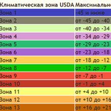 Зоны морозоустойчивости растений USDA
